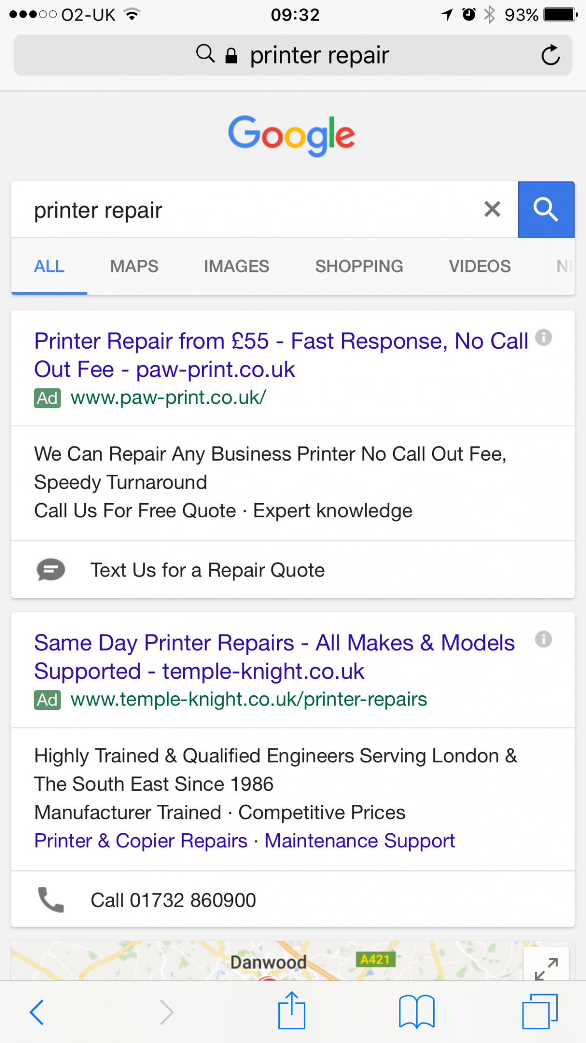 New AdWords Click-to-Text Message Extension